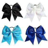 "7.5"" Large Solid Ribbon Rhinestone Cheer Bow With Elastic Band For Girls Kids"