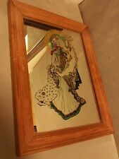 Nouveau mirror harlene hair mucha vintage 1970s revival art deco litho mirror