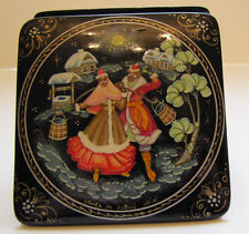 Russian Square Palekh Box with Scene from Russian Life New from Moscow, Russia