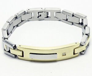 Silver & Yellow Color Stainless Steel Cubic Zirconia Bracelet CZ Bangle 8 Inches