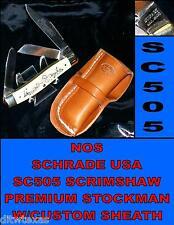 Schrade Knife SC505 Scrimshaw 1984 Stockman Duck Scene New Loop Style Sheath