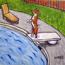 Basenji at the pool picture animal dog art tile coaster