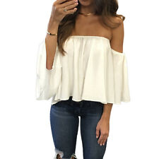 Fashion Women Off Shoulder Top Long Sleeve Pullover Casual Blouse Summer T Shirt