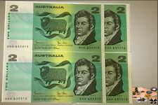 $2 Johnston-Stone 1983 (R88) Consec Prefixes and Serials No. (4 Notes) .... UNC