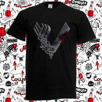 New Vikings TV Series Logo Movie Men's Black T-Shirt Size S-3XL