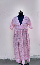 jaipur india karni,s pink flower v yoke dress , maxi kaftans caftans vestidos