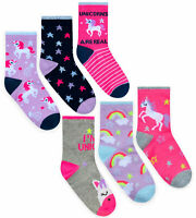 Girls Unicorn Socks 5 Pack Size 9-12 New