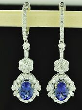 3.68 ct 18k Solid White Gold Dangling AAA Oval Tanzanite Diamond Earring long