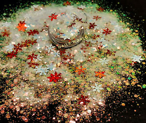 Christmas MIX White Red STAR 9mm Holographic Nail Art Glitter Sequins Xmas