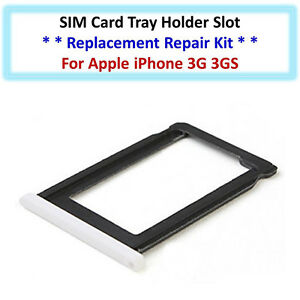 SIM Card Tray Holder Slot Replacement Repair Part for Apple iPhone 3G 3GS White