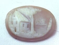 NOS Antique Vintage Hand Carved Oval Shell CAMEO Stone House & Tree Scene #N403