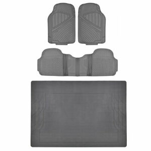Tough Weather 4pc Floor Mats & Liner - Heavy Duty Rubber Gray MOTORTREND