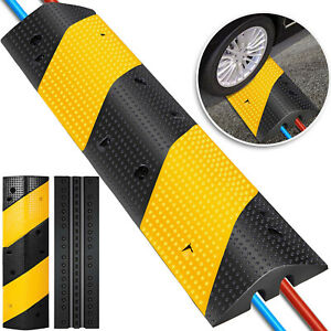 Rubber Traffic Speed Bump Modular Driveway Cable Protector Ramp With 2 Channel