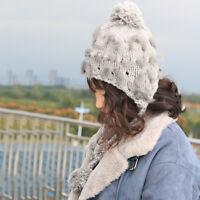Winter Cap Hat Warm Women Winter Hat with Ear Flaps Vintage Thick Knit Wool Hat