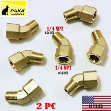 2 PC - 1/4 Inch NPT 45 Degree Street Pipe Elbow brass thread male female