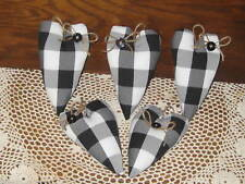 New listing 5 Black White Buffalo check hearts Country Christmas Decor Tree Ornaments