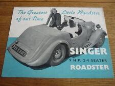 SINGER 9HP ROADSTER CAR BROCHURE 1939
