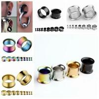 Pair 3-16MM Stainless Steel Double Flare Flesh Tunnels Plugs Earlets Gauges USNJ