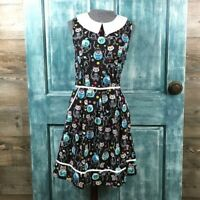 ModCloth Folter Meow or Never Dress Cats Day of the Dead Size Medium Rockabilly