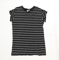 Divided by H&M Womens Black Striped Jersey Basic T-Shirt Size S