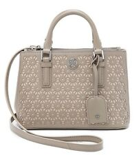 NWT Tory Burch Robinson Floral-Perforated Mini Double Zip Tote FRENCH GRAY $550