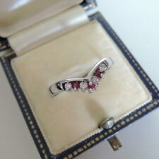 9ct White Gold Ruby and Diamond Wishbone Eternity Ring Size R