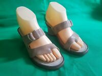Ariat Wedge Sandals Gray Leather Slide Toe Loop Women's Size 6 B EUR 36