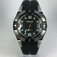 Dakota Mens Black Dial Black Rubber Band Luminous Light Quartz Analog Watch