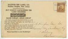 c1930s Haddon Heights New Jersey Haddon Bin Label Co - 1-1/2ct Harding 3rd Class