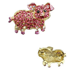 Full Crystal Cute Pig Animal Art Brooch Pin Plating Gold Pendant Boy Gift XP009