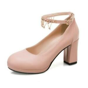 43 44 45 Women's Round Toe Platform High Heels Tassels Ankle Strap Party Shoes D