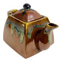 "Vintage Drip Glazed Individual Teapot Mid Century Modern Studio Pottery 4 7/8""H"