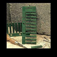 Linic 5 x Strips of 12mm Green Fixing Masonry Plastic Wall Plugs, UK Made. S7660