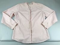 LL Bean Pink Gingham Shirt Top Long Sleeve Button Cotton Medium M Notch Neck