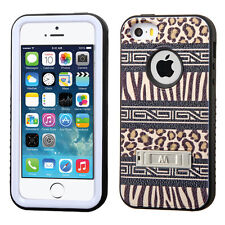 for iPhone SE 5S - BROWN LEOPARD ZEBEA Skin Hybrid Armor Hard & Soft Rubber Case