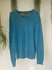 Mens Tommy Hilfiger Blue Thin V Neck Knitted Jumper Sweater Size Large