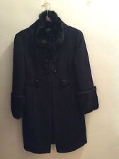 BEBE Wool Coat with Rabbit Fur Collar & Cuffs Size S