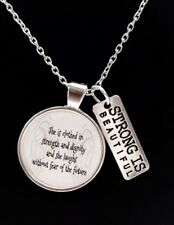 Proverbs 31:25 She Is Clothed In Strength Strong Bible Scripture Church Necklace