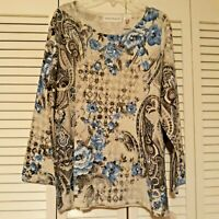 NWT ALFRED DUNNER  Sparkle Abstract Pullover Top/3/4 Sleeves  Women Large $64.00