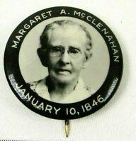 1930s VTG Celluloid Pinback Button Margaret A McClenahan Jan 10 1946 Memorial