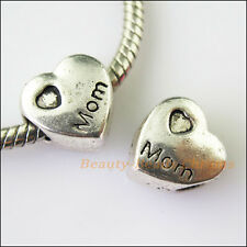 3Pcs Antiqued Silver Heart Mom Spacer Beads fit European Charm Bracelets 11.5mm