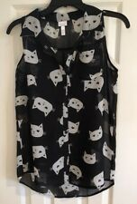 Xhilaration Girls Cat Kitty Sheer Sleeveless Blouse Built in Cami 14/16 Large