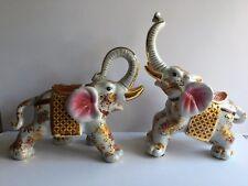 PAIR Large Asian Elephant Statues Figurines Porcelain