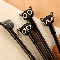 6Pcs Cute Kawaii Fun Black Cat Gel Ink Roller Ball Point Pen Korean School Gift