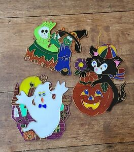 Lot of 3 Vintage Halloween Plastic Suncatchers Window Decoration Ghost Witch Cat