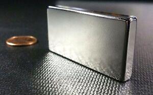 "Large Neodymium N52 Block Magnet Super Strong Rare Earth 2"" x 1"" x 1/4"""