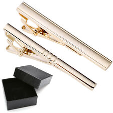 2pcs Men's Stainless Steel Gold Necktie Tie Clip Bar Clasp Classic Business Gift