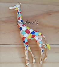 Colourful Giraffe Brooch Pin Enamel Animal Gold tone Jewellery