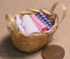 Échelle 1:12 Panier de linge de maison de poupées Lavage matériau à coudre accessoire Lin