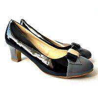 Sergio Todzi Womens Court Shoes UK 8 EUR 41 Black Grey Block Heel Bow
